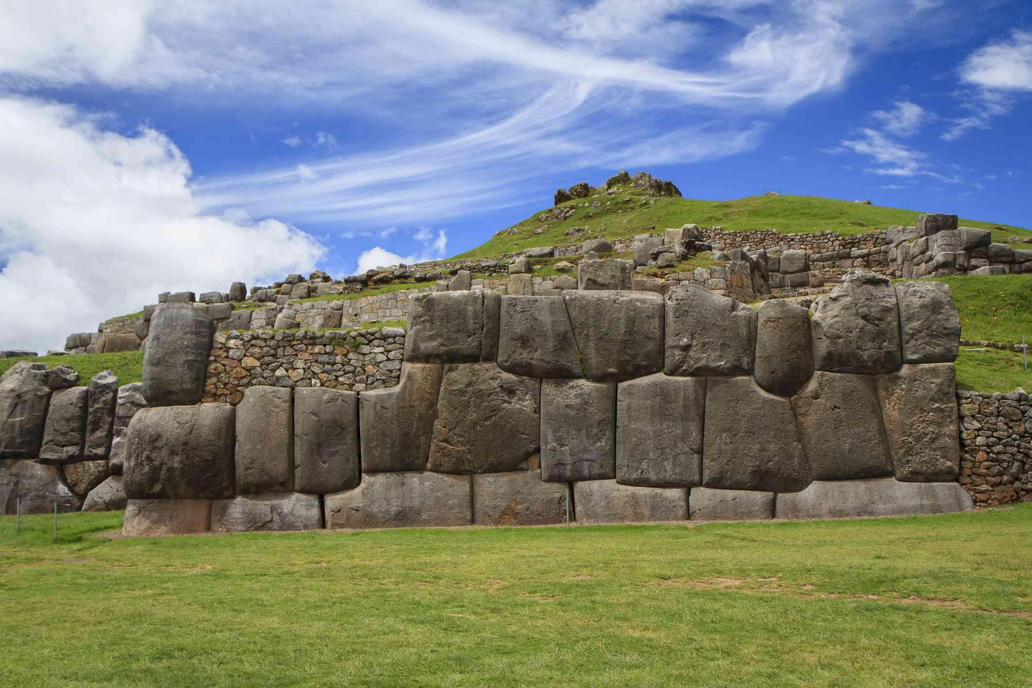 Sacsayhuamán ruins, with panorama of Cusco, Peru