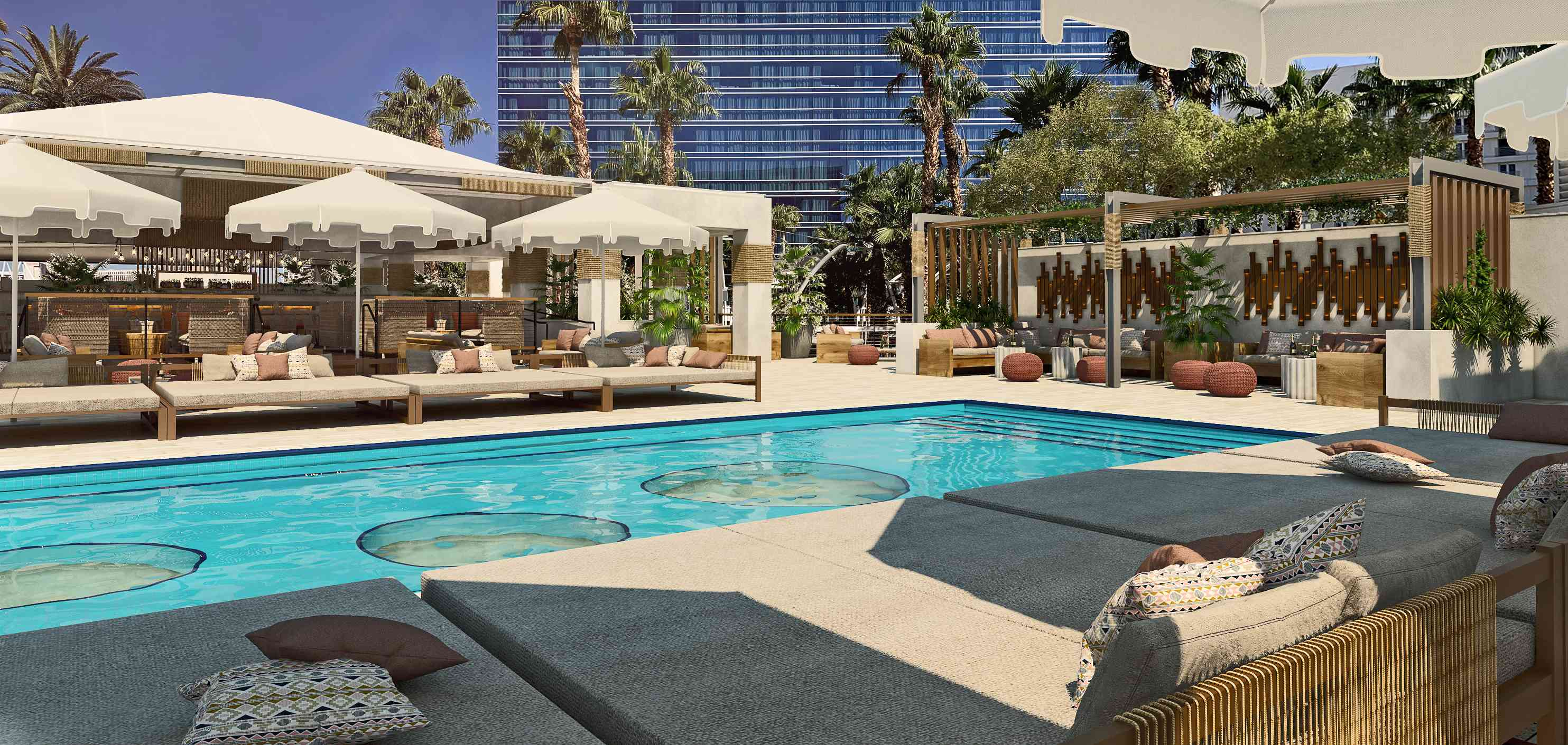 bar second level pool at Virgin Hotels Las Vegas