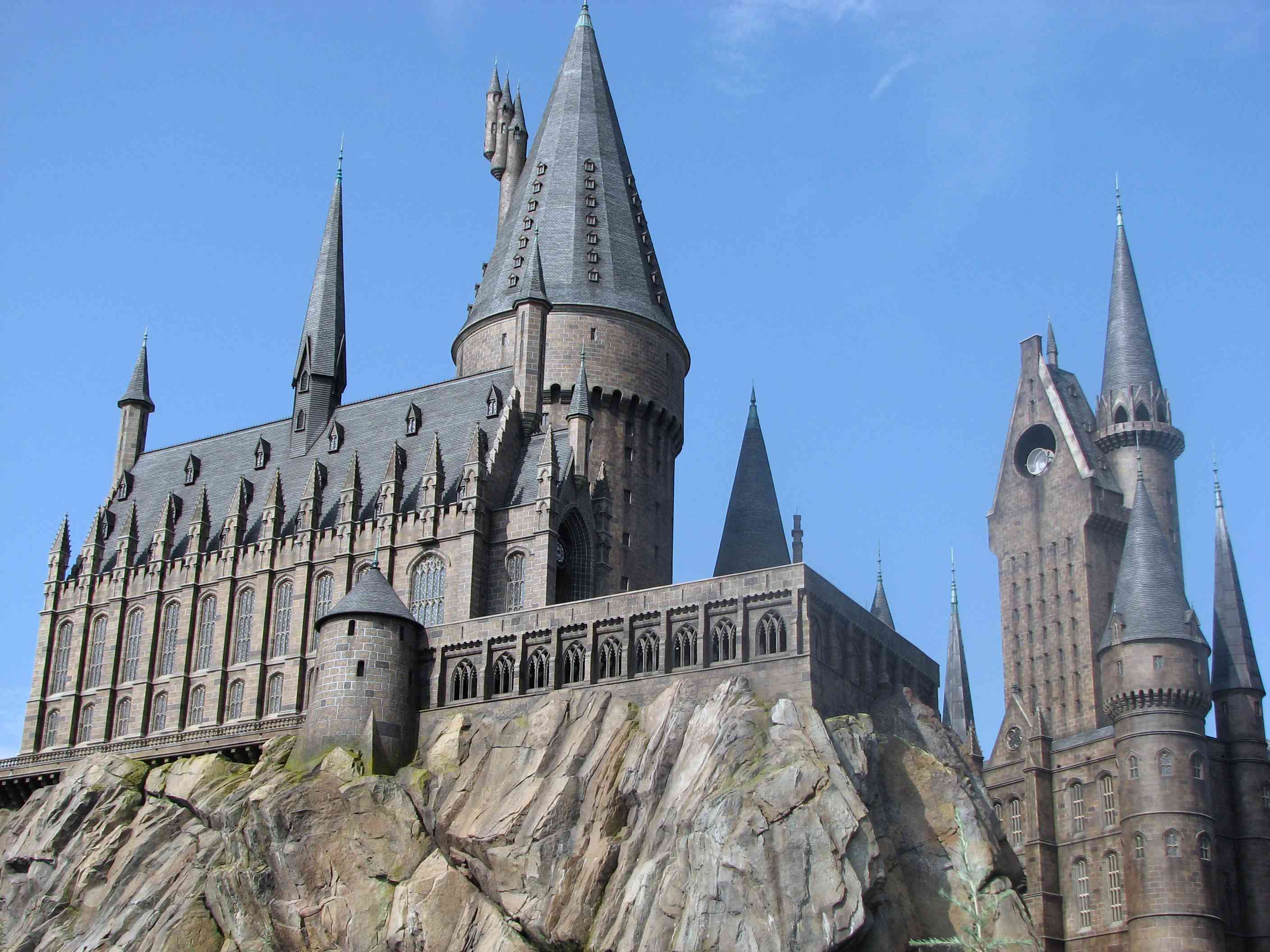 Hogwarts Castle looms above the Wizarding World of Harry Potter at Universal Orlando.