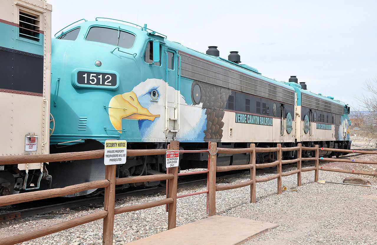 The Verde Canyon Railroad, an excursion train, waits in the station at Clarkdale in the U.S. state of Arizona.
