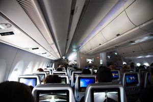Inside of a long distance airplane