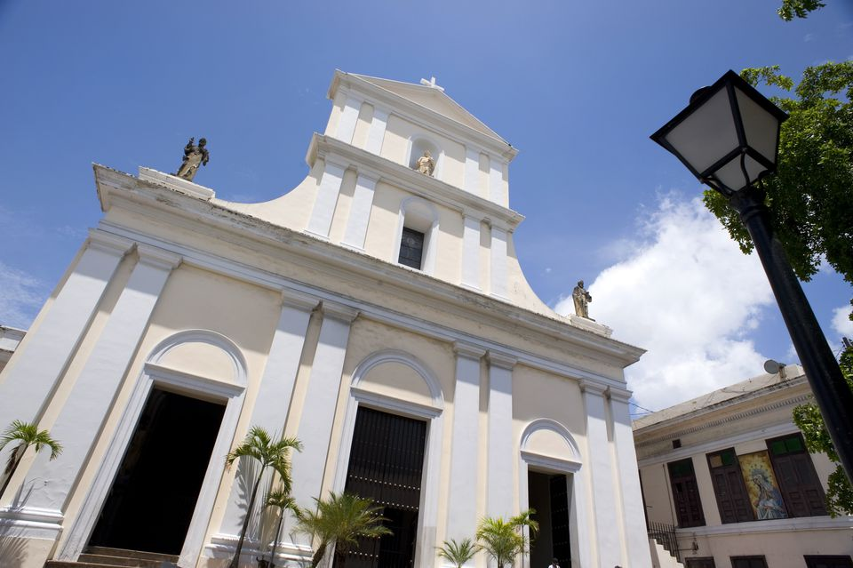White-washed facade of Cathedral de San Juan, San Juan, Puerto Rico