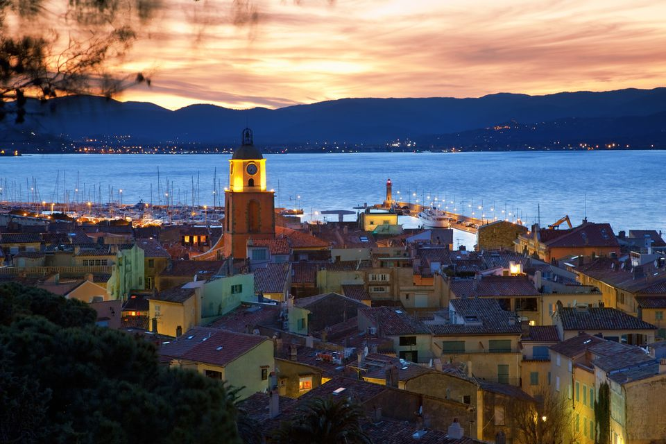 Dusky view over St-Tropez, France