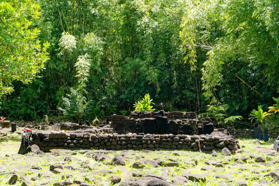 A stone marae in Tahiti