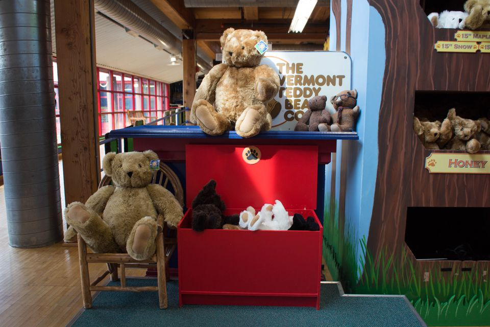 Teddy bears displayed at the Vermont Teddy Bear Company