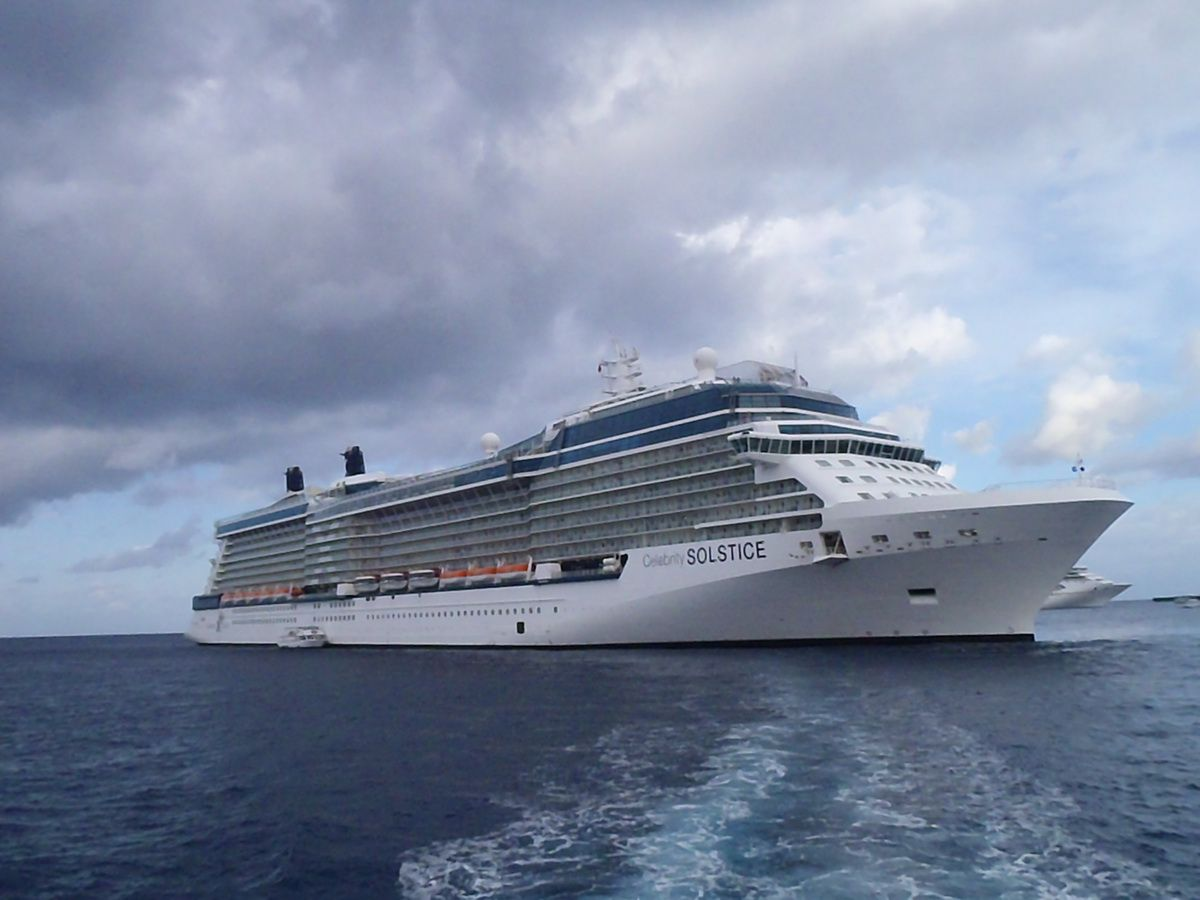 Celebrity Solstice Anchored at Grand Cayman Island in the Western Caribbean