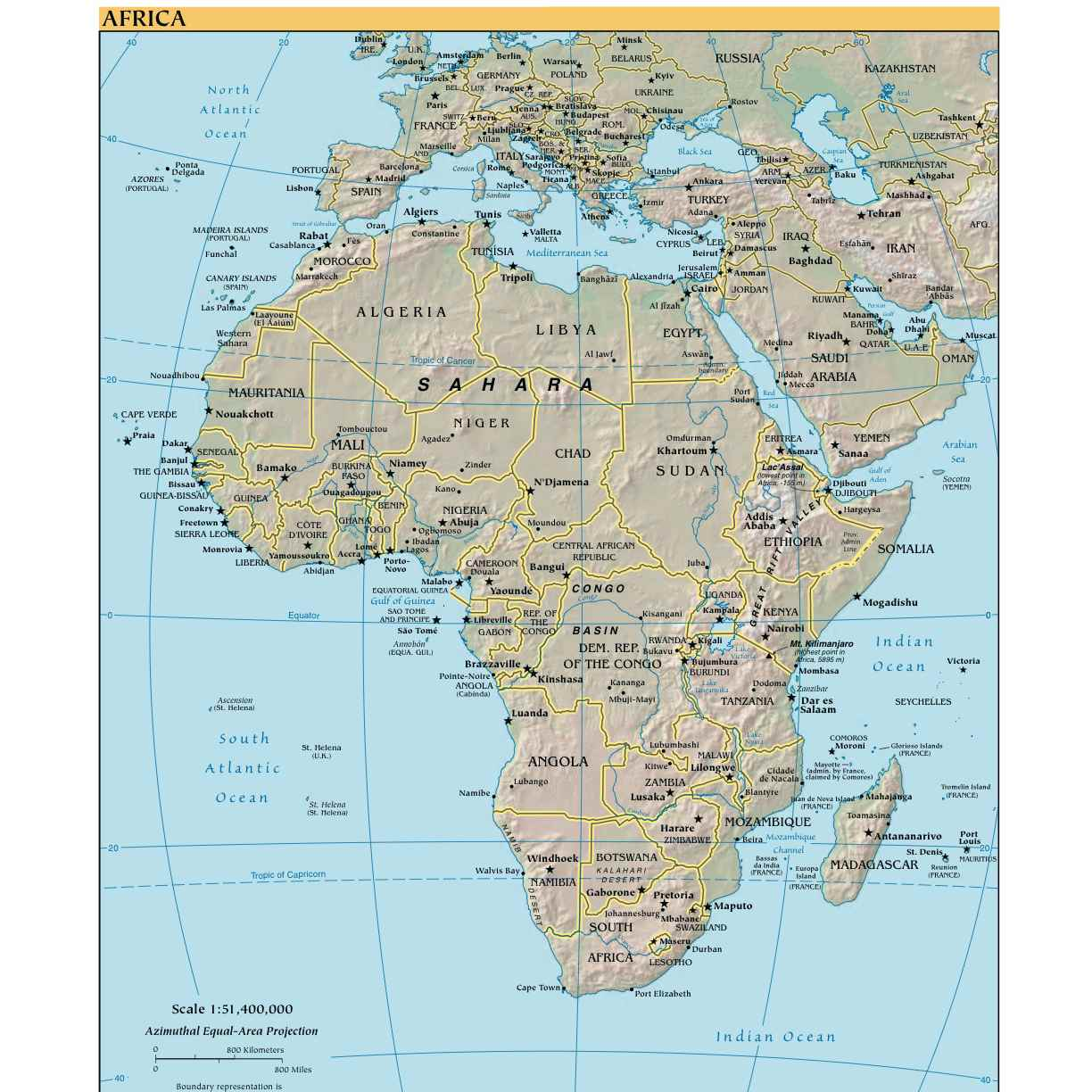Kop Afrika Maps International 1 8milj Pol 100x120cm Med Snabb
