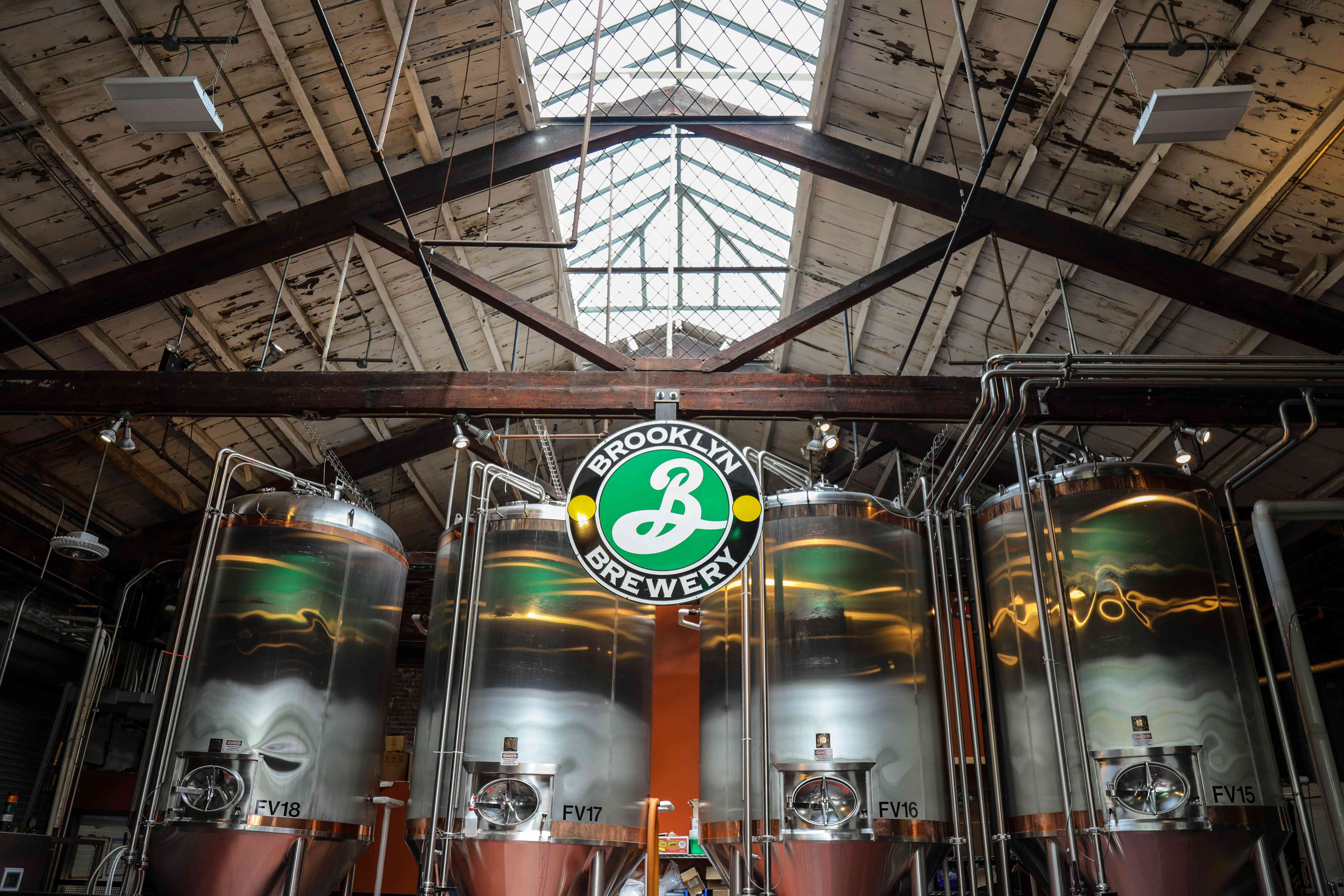 Large tanks of beer in the Brooklyn Brewery