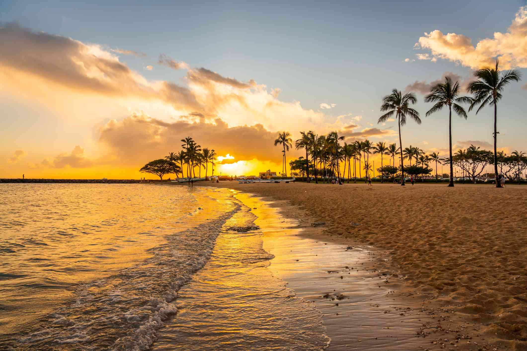 Beautiful sunset over Waikiki Beach