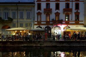 Bars in the Navigli district, Milan