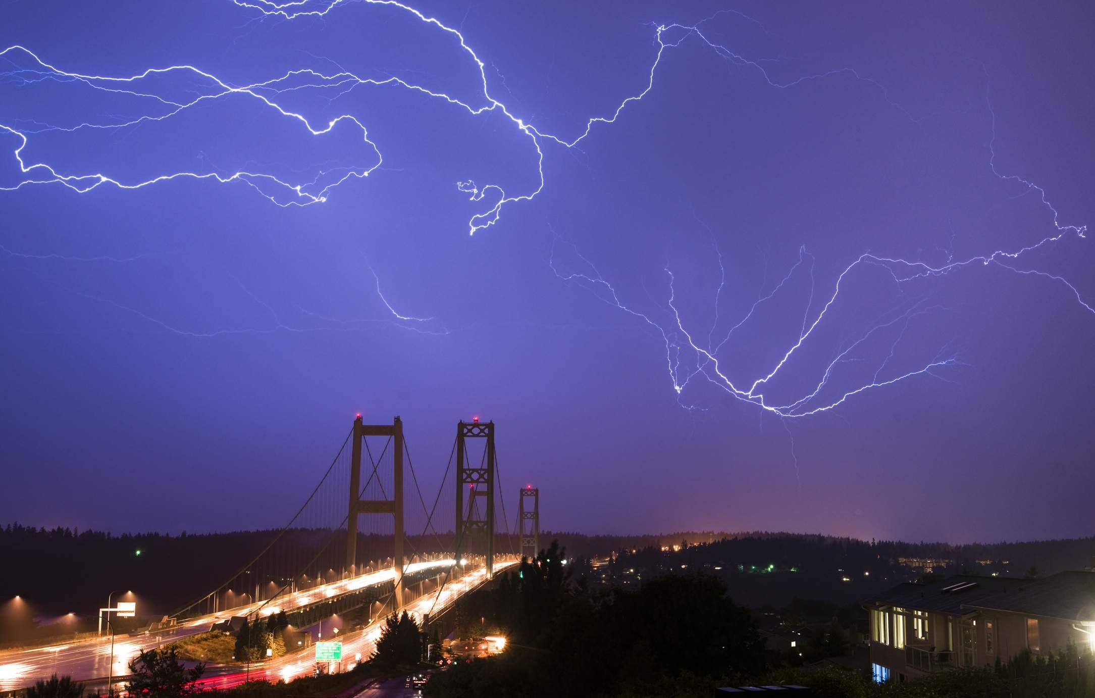 Electrical Storm Lightning Strikes Bolts Tacoma Narrows Bridge W