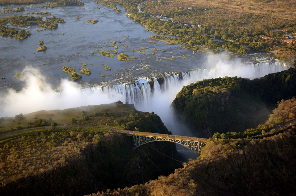 Aerial view of Victoria Falls on the border of Zambia and Zimbabwe