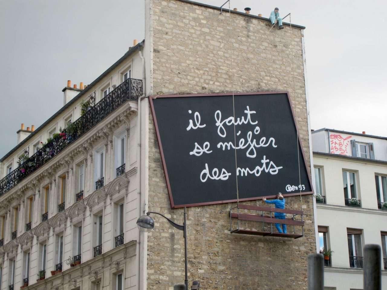 An odd street art installation on Place Frehel in Paris, France