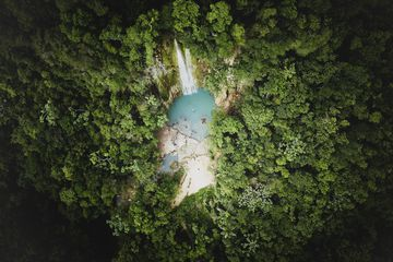 Aerial View Of Waterfall Forest
