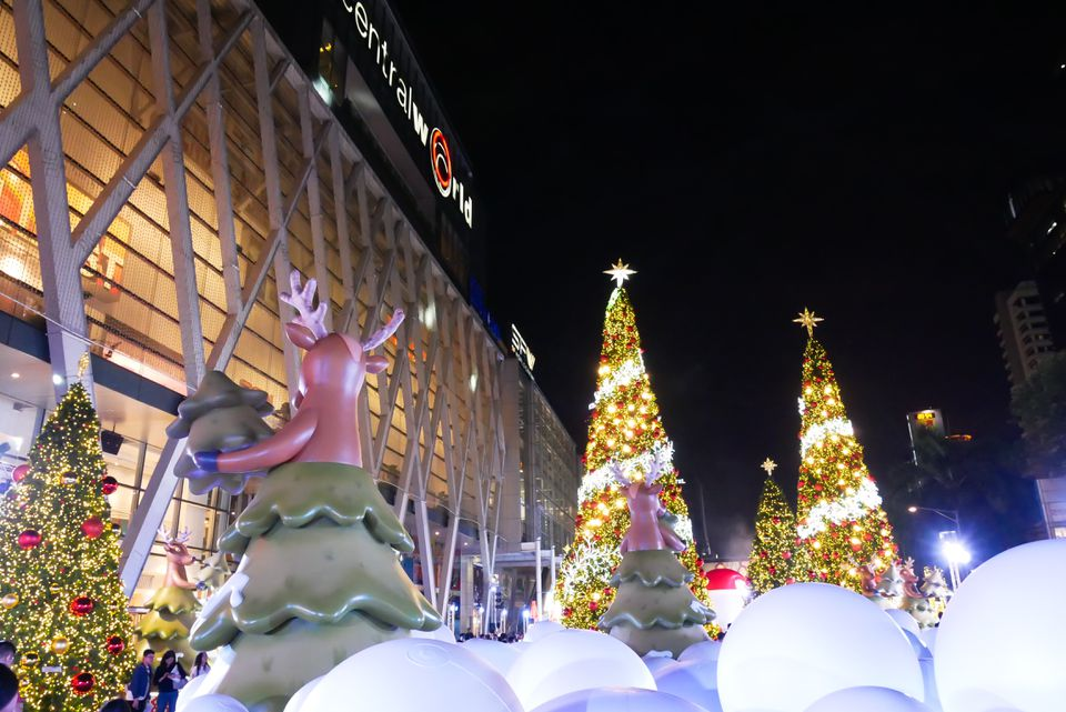 Christmas decorations in Bangkok outside CentralWorld