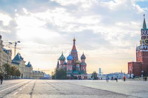Tranquil Red Square at morning dawn, Moscow, Russia