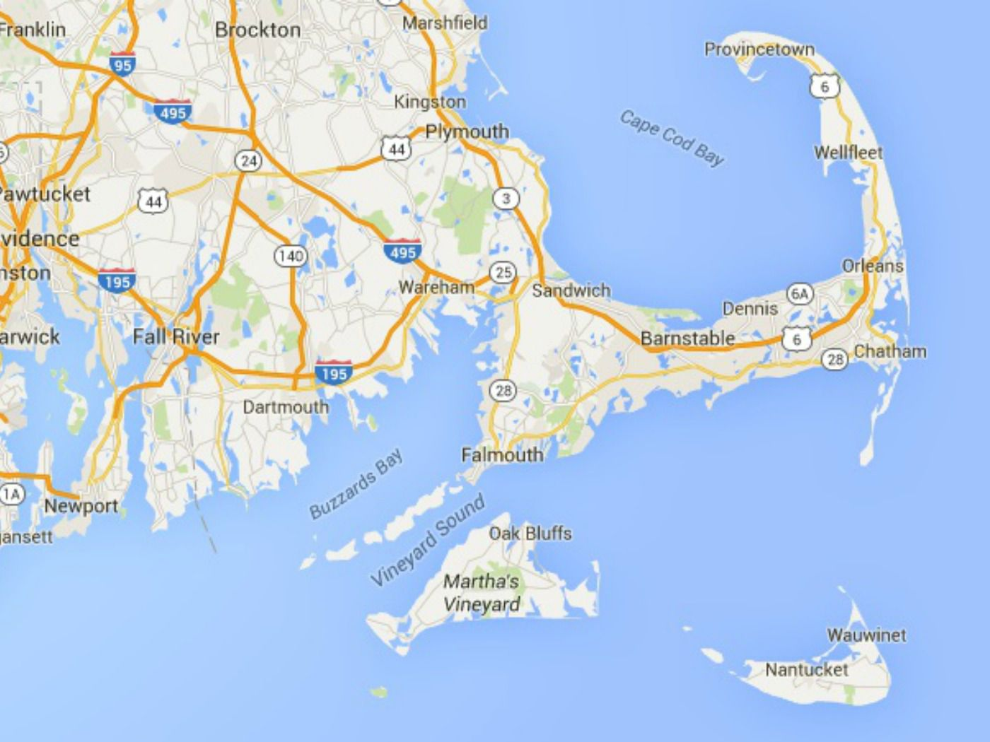 Maps Of Cape Cod Marthas Vineyard And Nantucket - Cape-cod-on-us-map