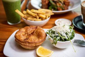 Pie and salad at Tuck Shop
