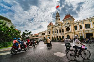 Traffic on the road at front of Ho Chi Minh City Hall in Ho Chi Minh City Capital of Vietnam