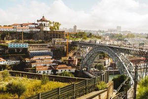 The bridge in Porto crossing to the other side of the river