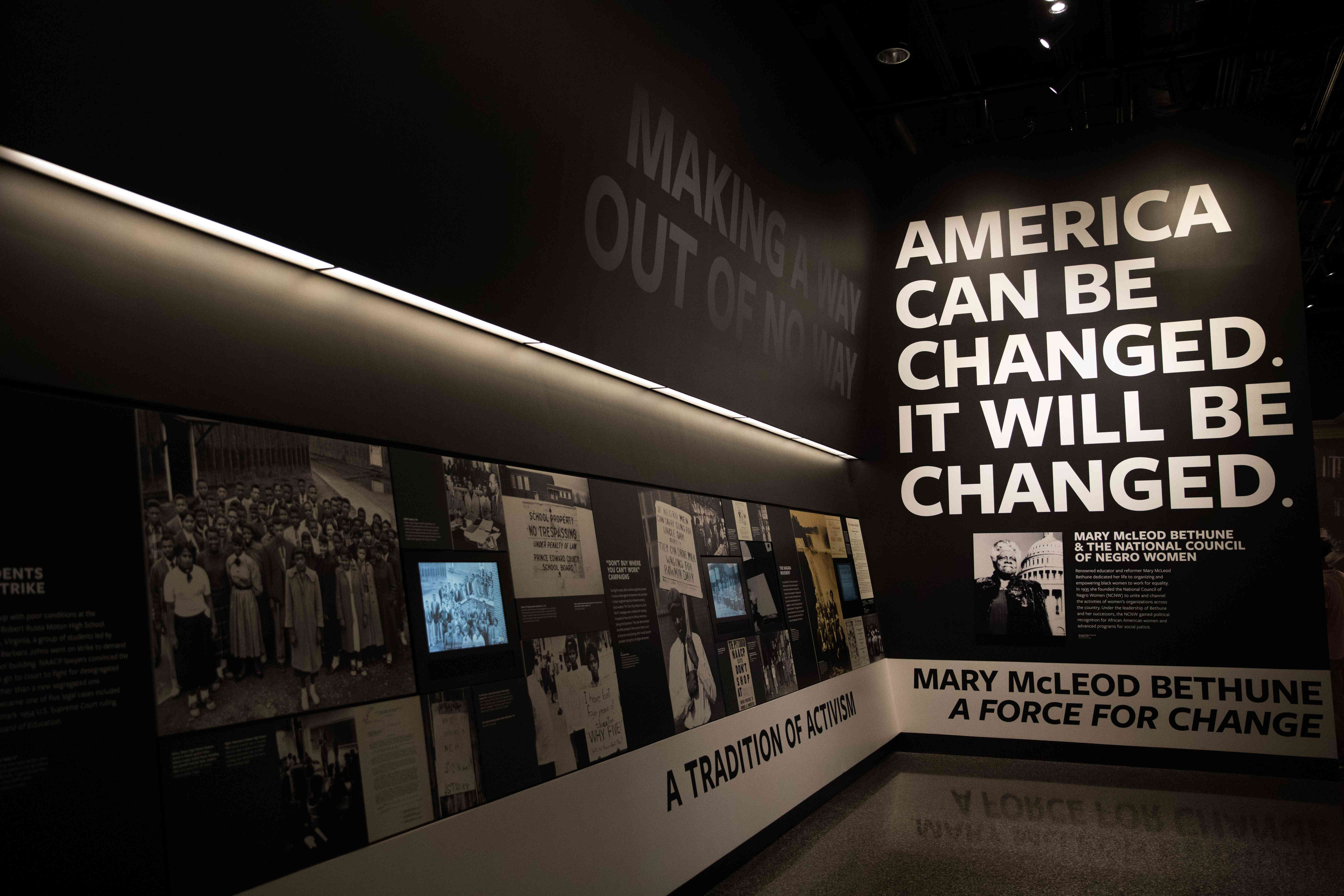 An exhibit inside the Museum of African American History