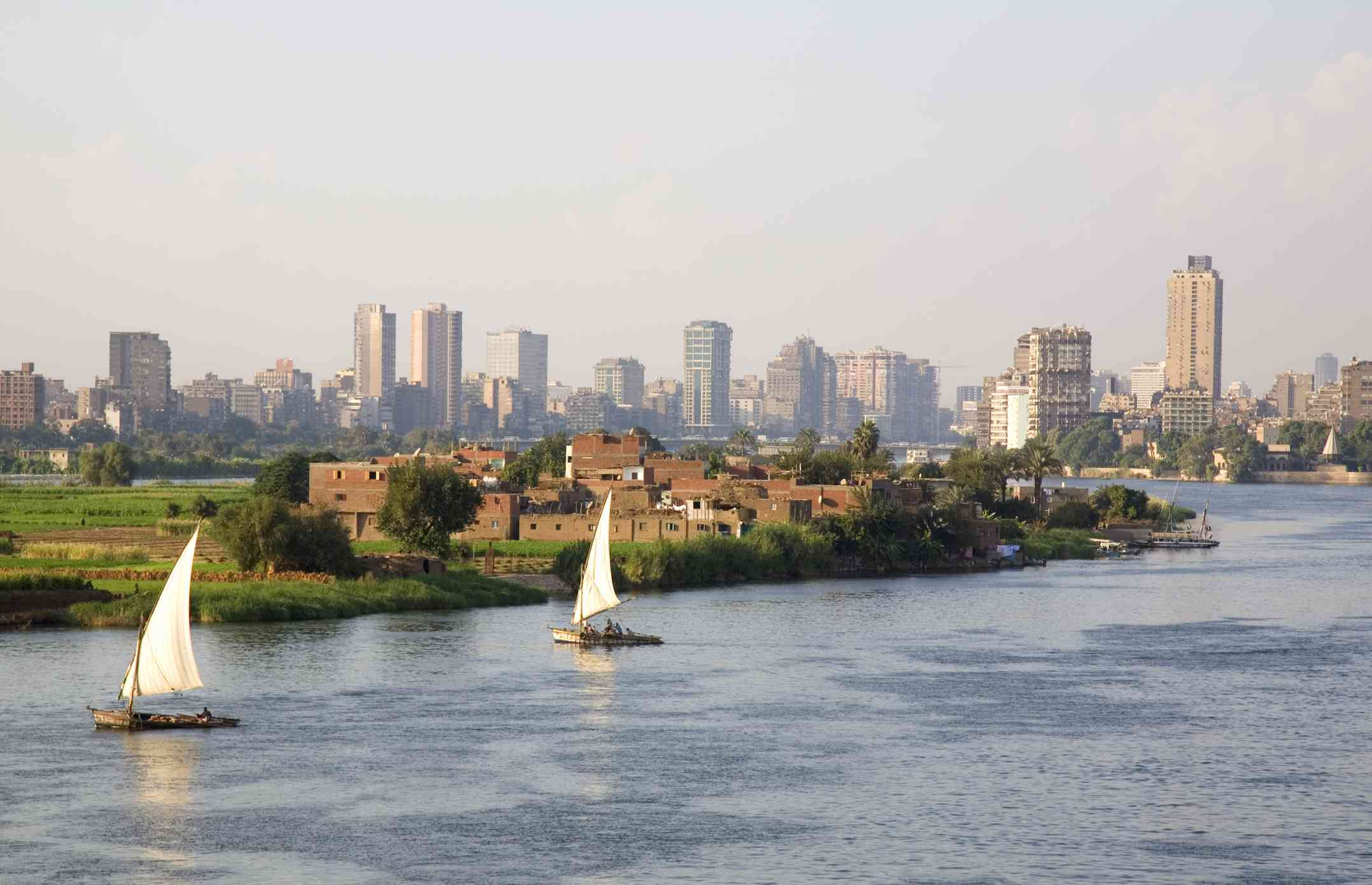 Felucca boats on the Nile River in Cairo, Egypt
