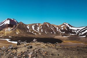 View of snow capped mountains in Tongariro