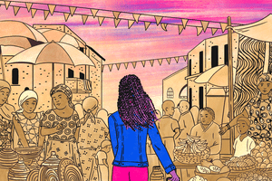 Illustration of a woman walking into a market in The Gambia with pride colors