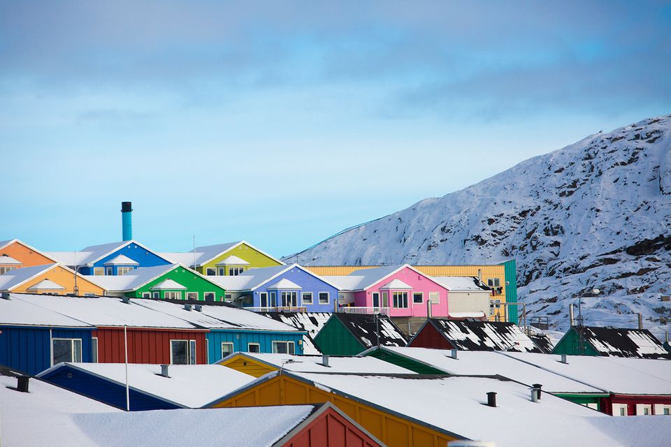 Colorful houses in town of Ilulissat, Greenland, Denmark