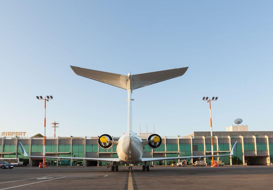 Private aircraft at airport