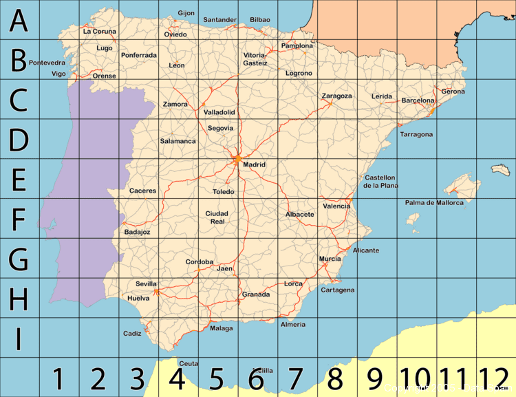 large map of spain index