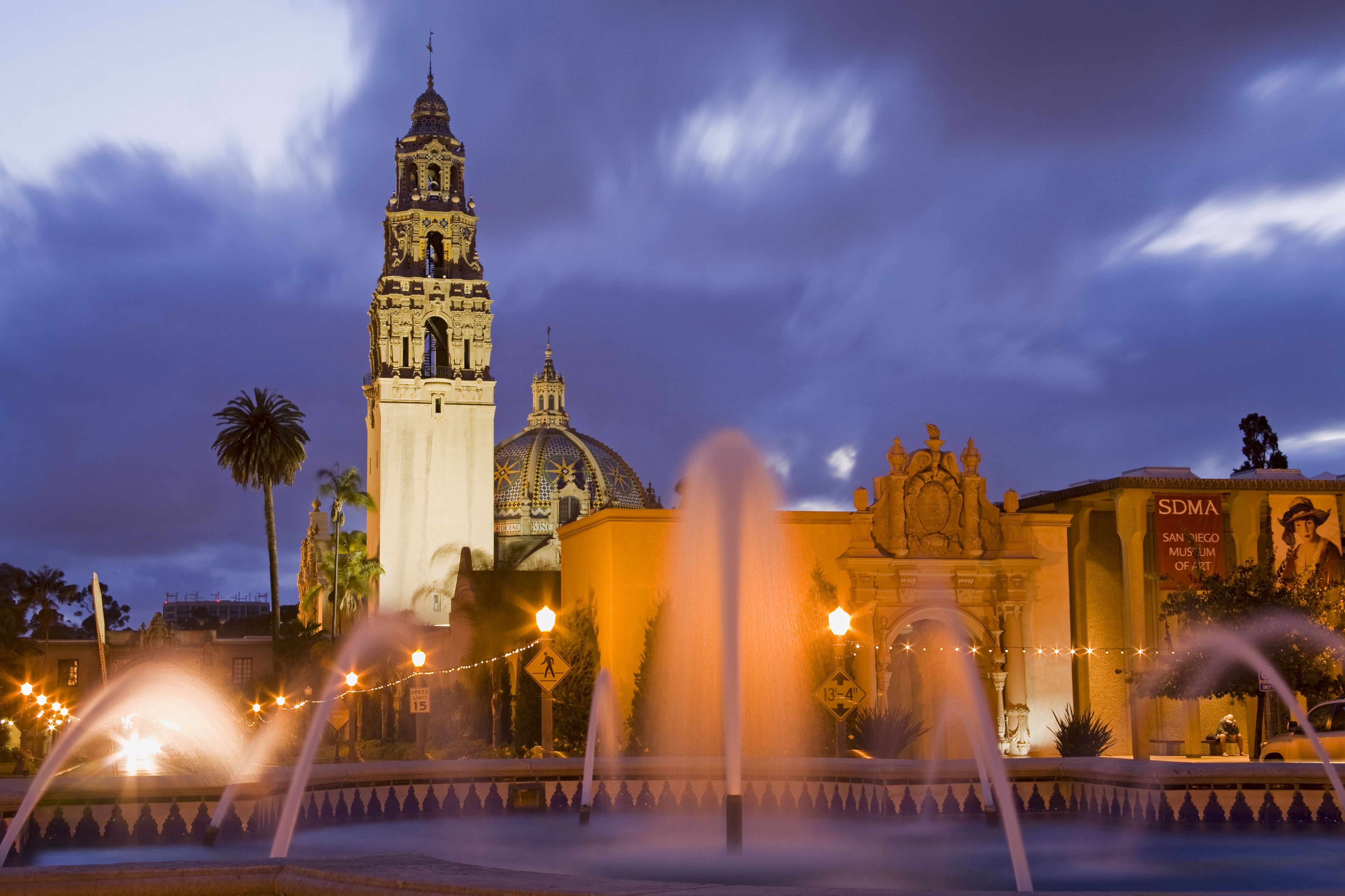 Fountain and Museum of Man in Balboa Park, San Diego, California, United States of America, North America