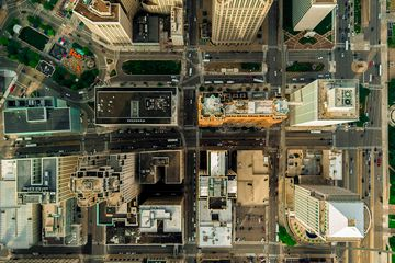 An overhead view of Detroit