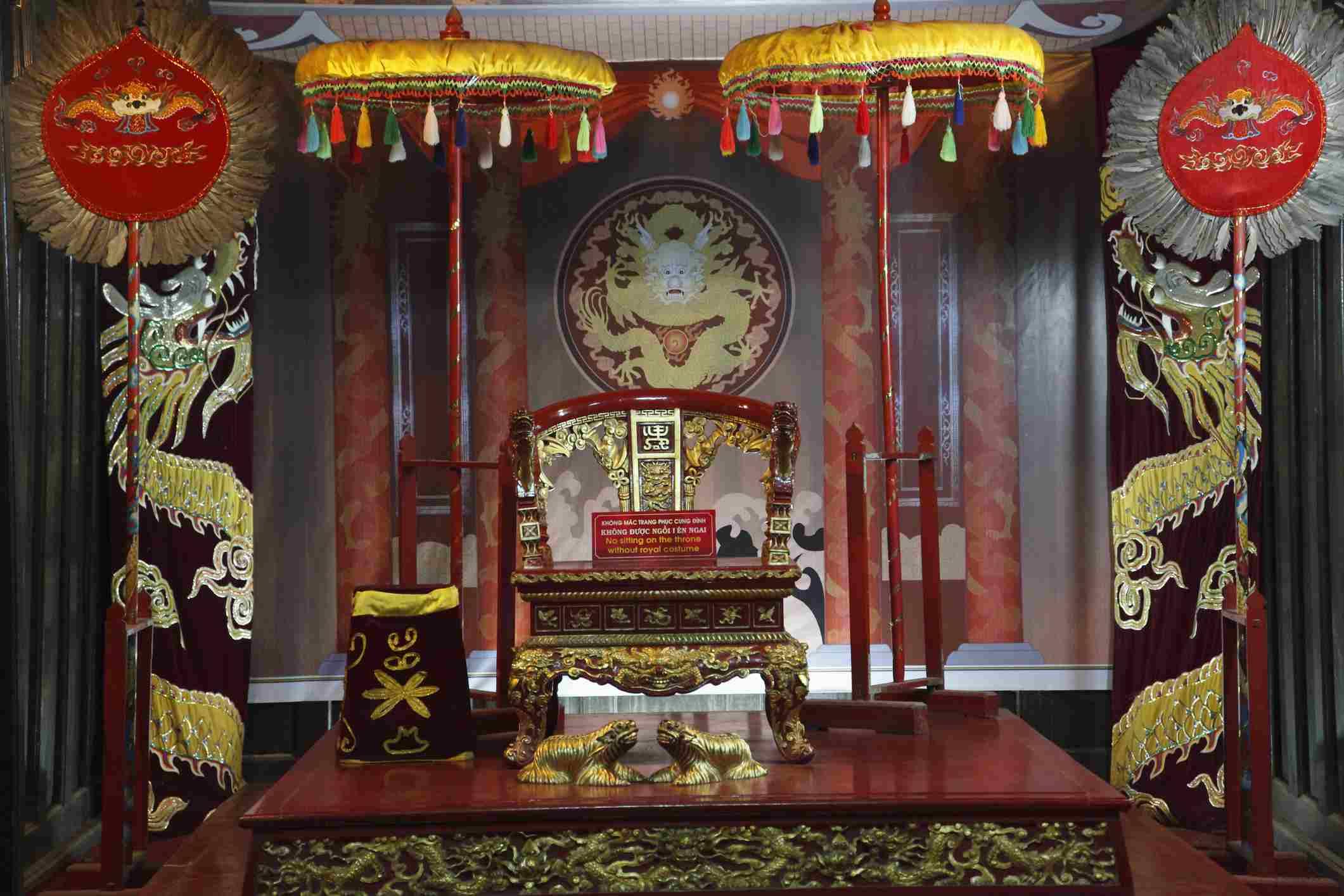 Throne at Minh Khiem Chamber, Tu Duc Royal Tomb, Hue, Vietnam