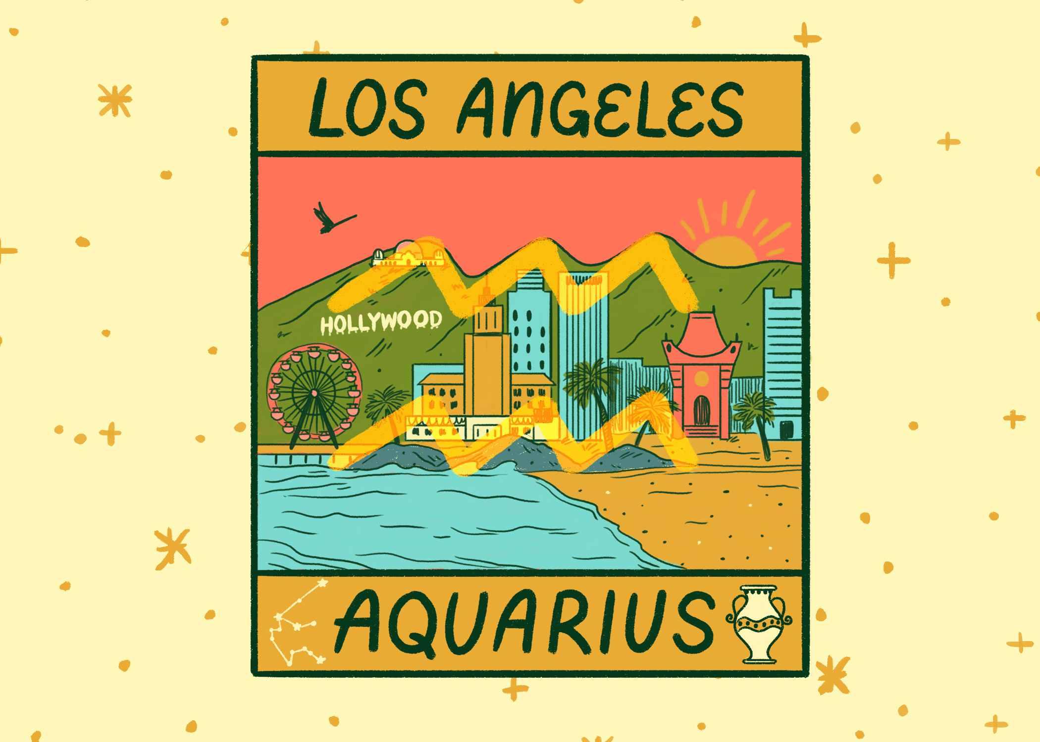 Illustration of LA and Aquarius