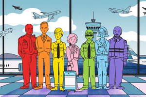 Gif of full aviation crew each a different color to represent the LGBTQ rainbow