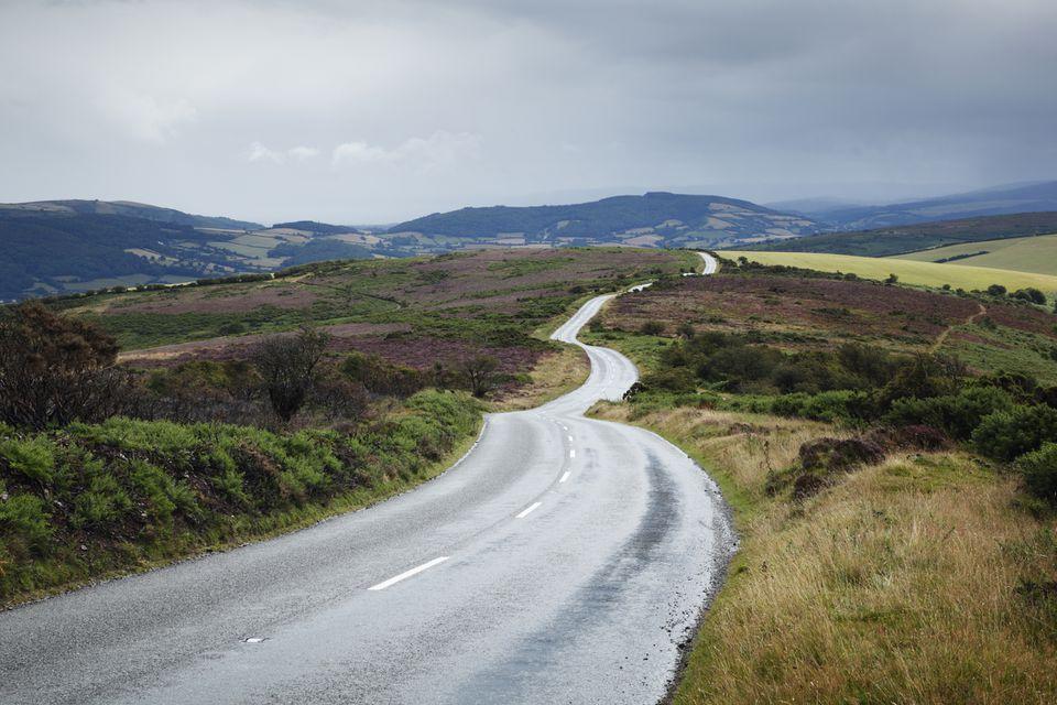 Highway A39 in Exmoor National Park in Somerset, England