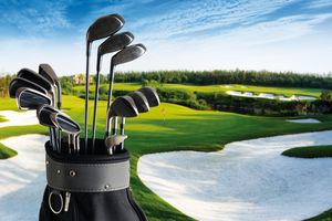 A complete set golf bag and golf club on the golf course