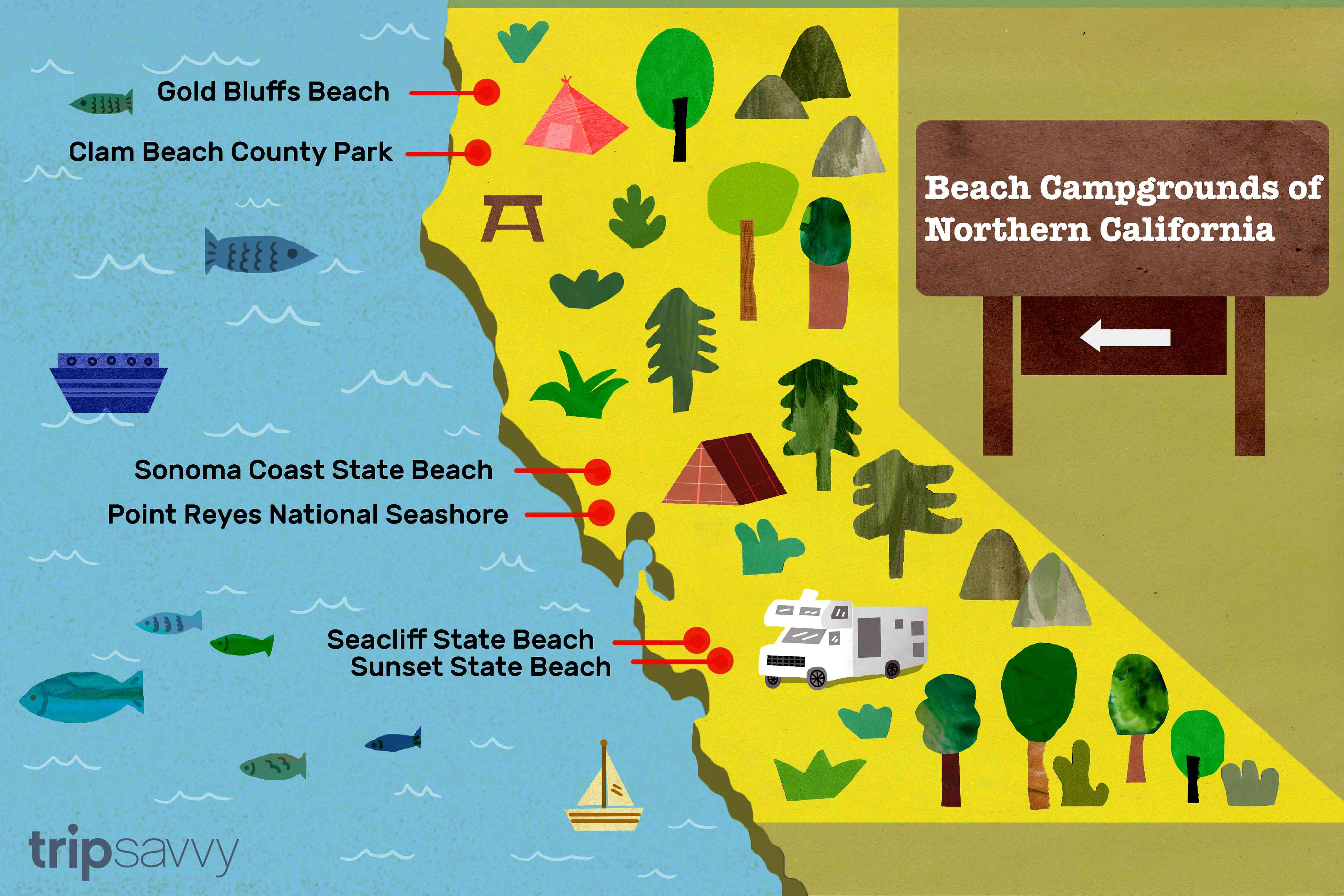 an illustrated maps of the beach campgrounds in Northern California