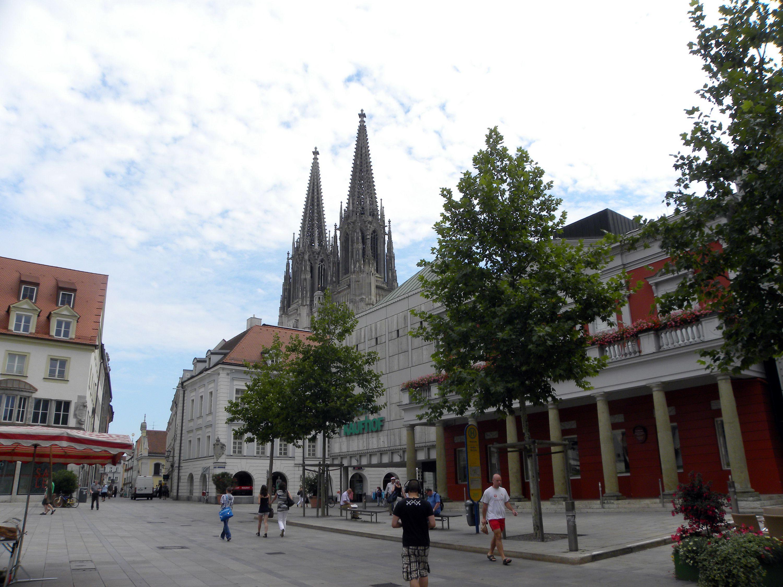Pedestrian square in Regensburg, Germany