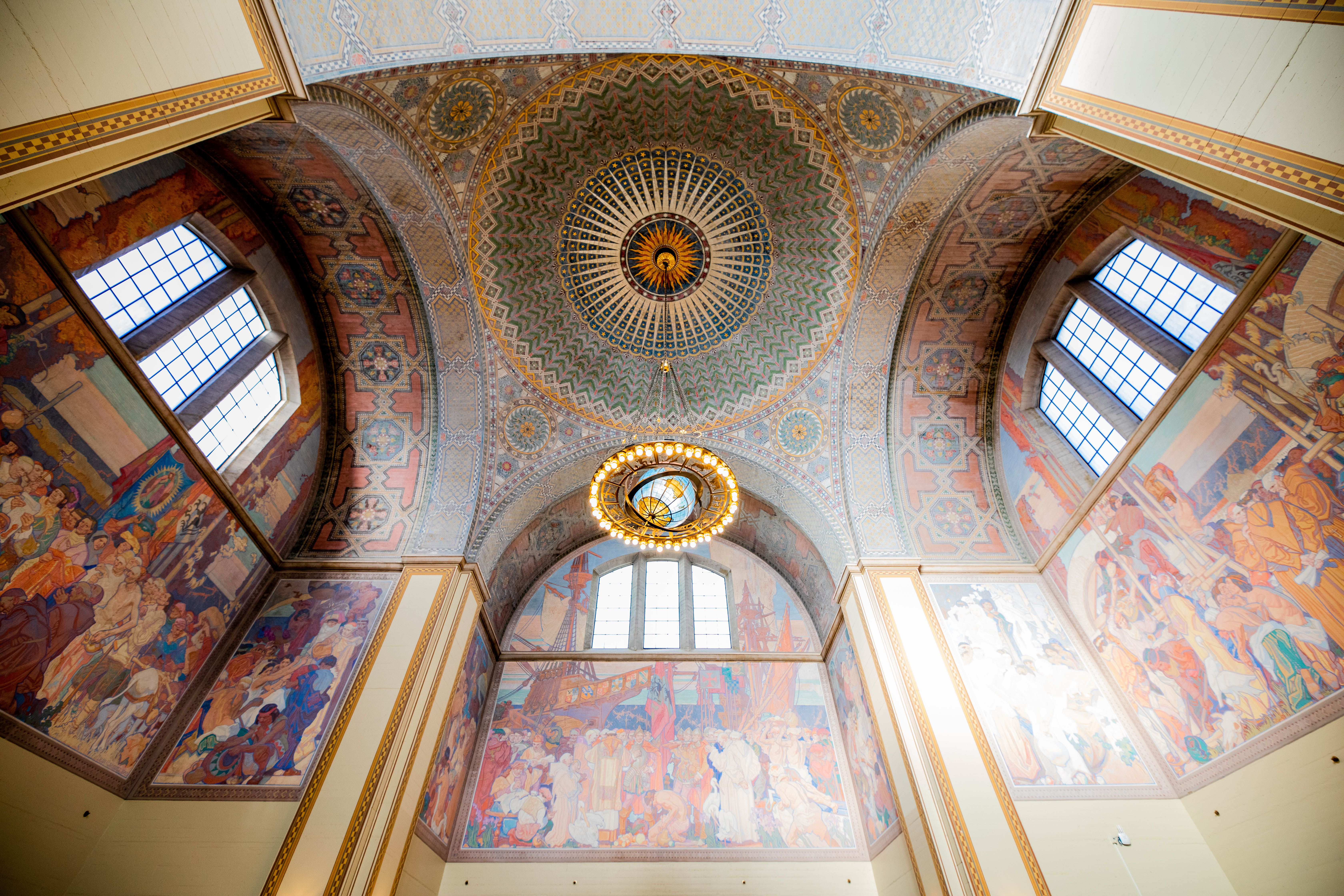 Mural on the ceiling of the central library