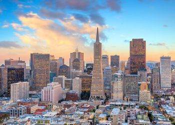 View of business center in downtown San Francisco at sunset
