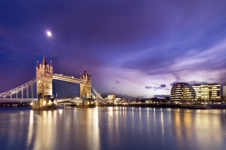 Tower Bridge and London at night