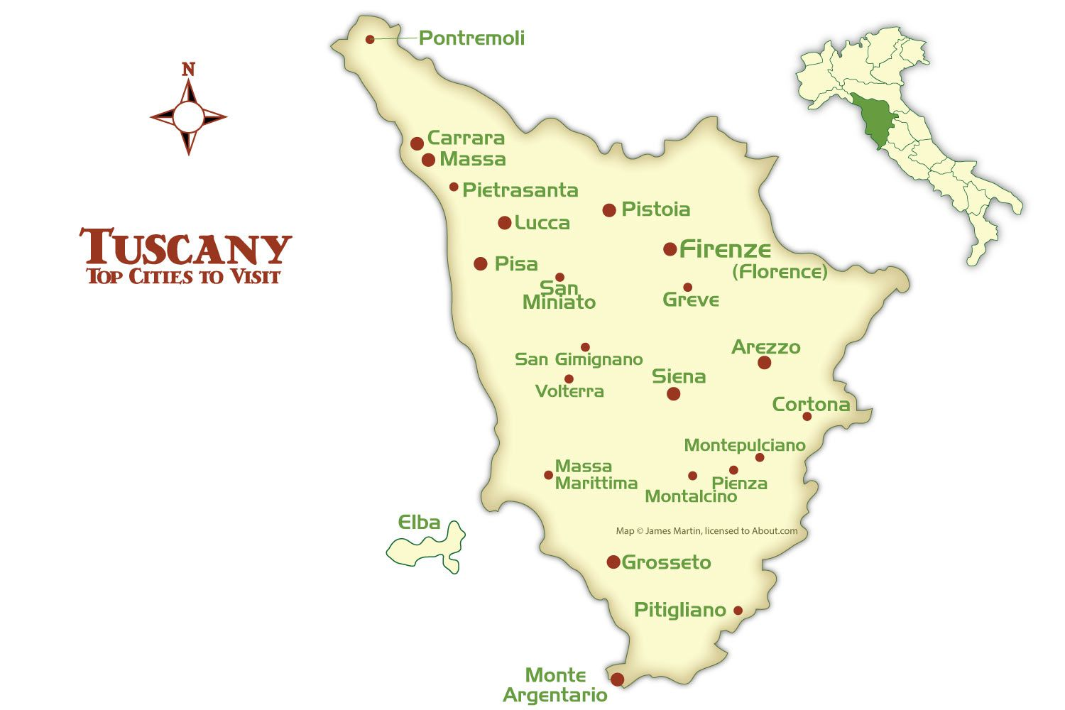 Map Of Italy Showing Pisa.Tuscany Cities Map And Tourism Guide