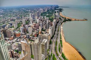 View of Chicago's skyline and lake front.