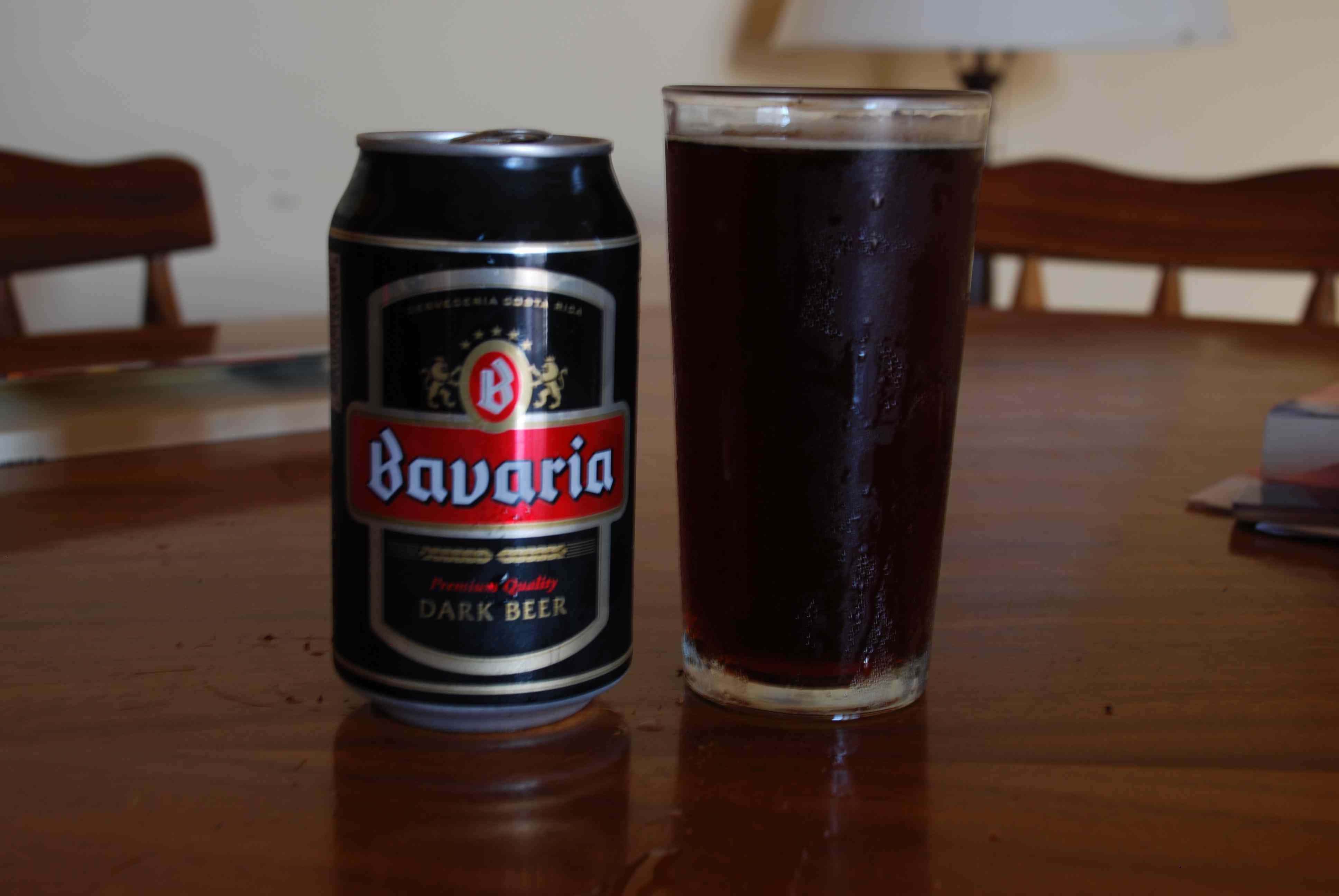 Bavaria dark beer in a clear glass