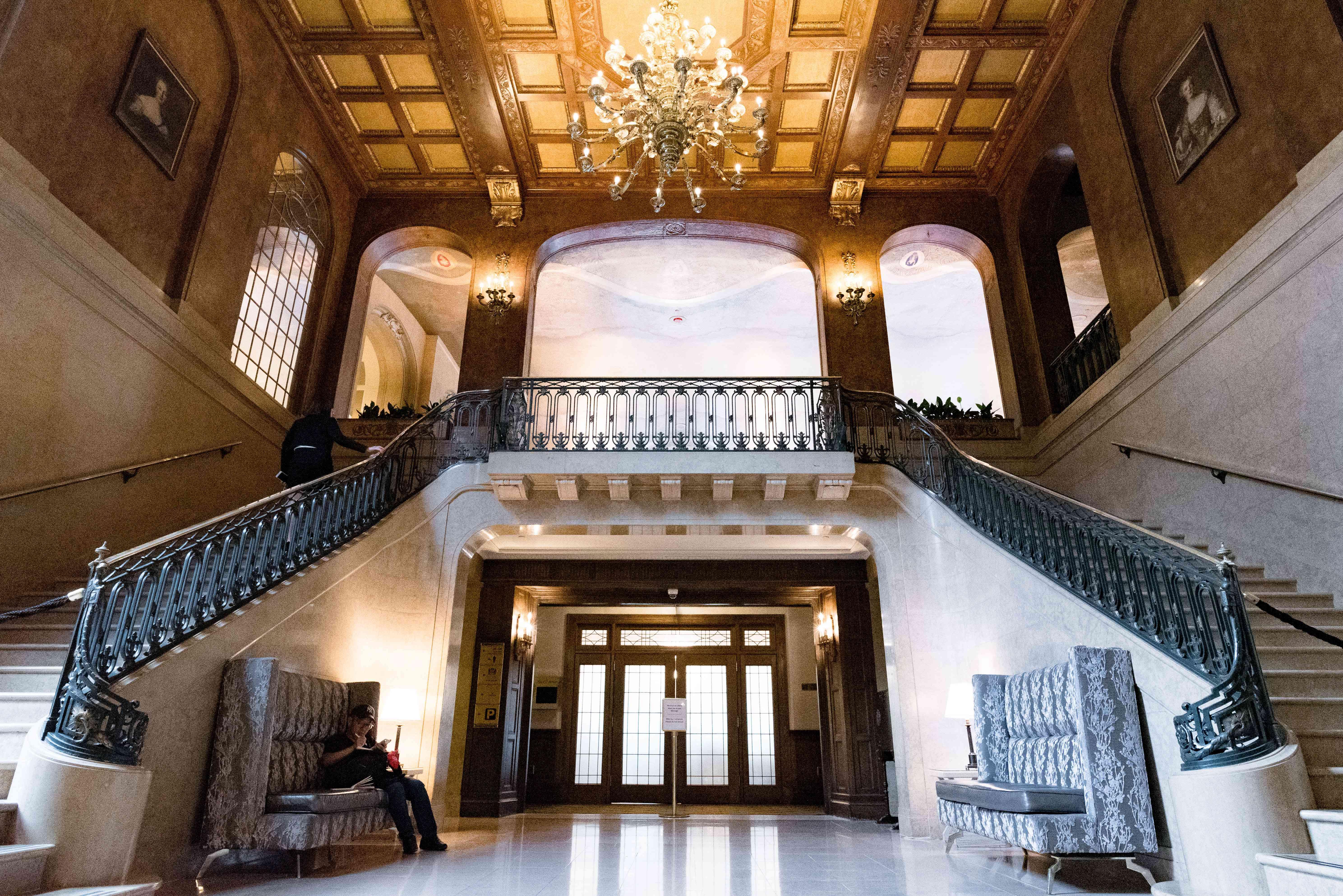 Interior stair case of Fairmont Frontenac