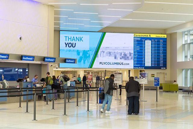 The departures hall at John Glenn Columbus International Airport.