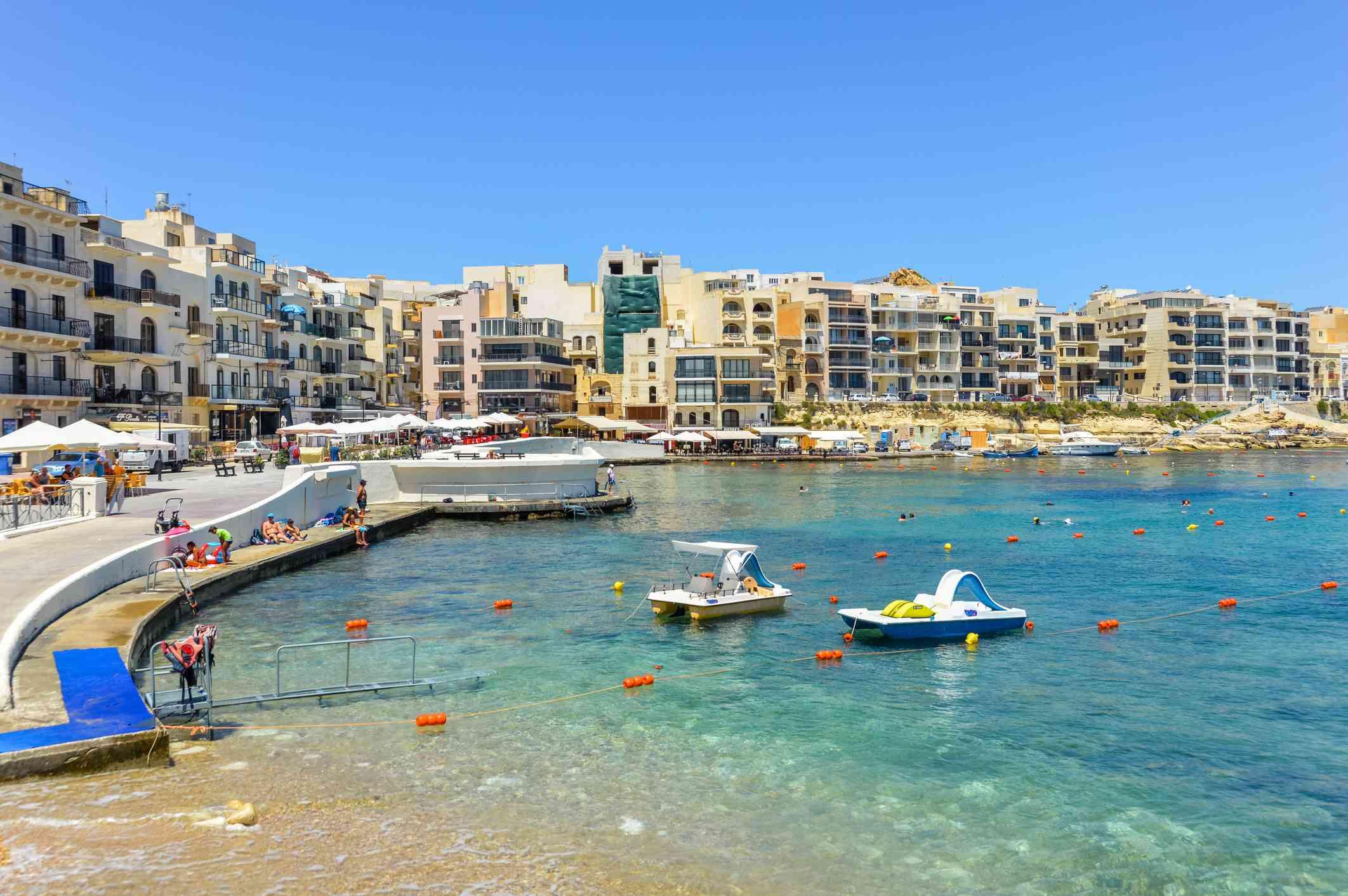 The Maltese resort town of Marsalforn on Gozo Island - Malta