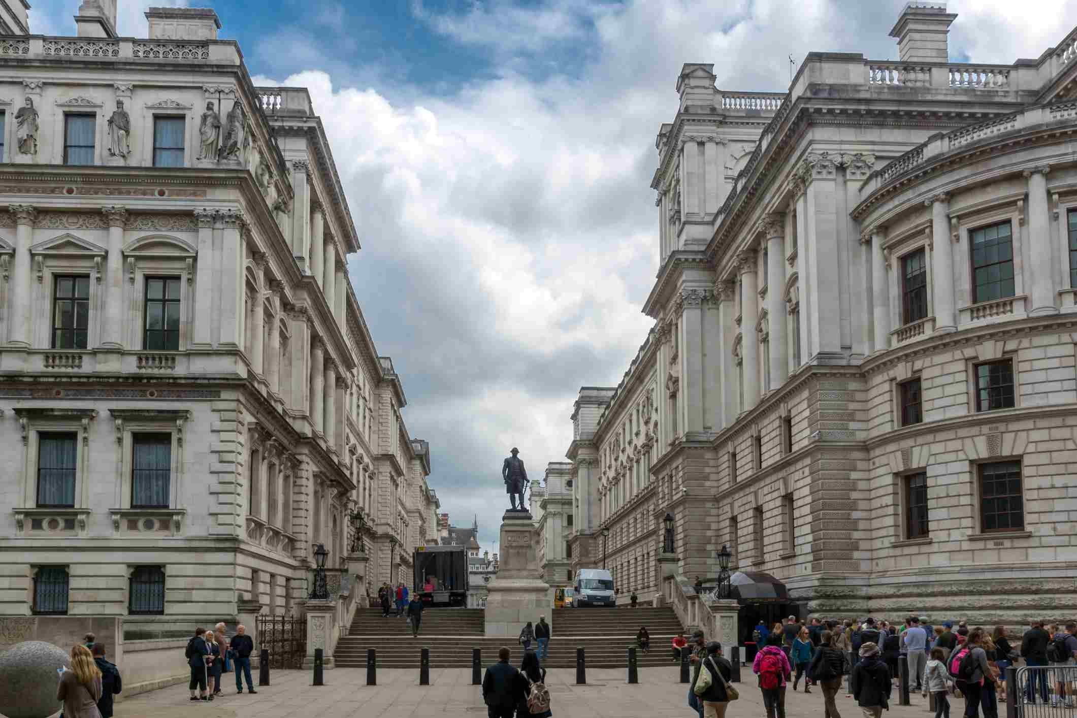 Exterior of the Churchill War Rooms and Robert Clive Memorial seen from King Charles street in London